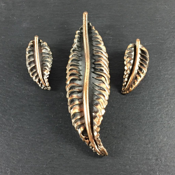 Copper Leaf Brooch & Earrings Set