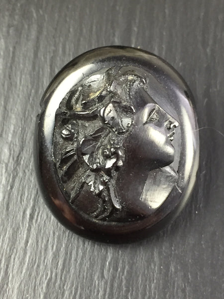 Victorian Hand Carved Whitby Jet Cameo Mourning Brooch