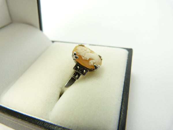 Art Deco Silver Cameo Ring by Delcita Size S