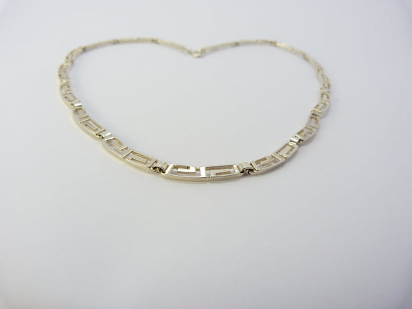 Silver Meander Greek Necklace