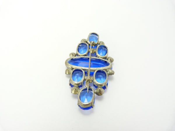 Art Deco Czech Blue Glass Brooch