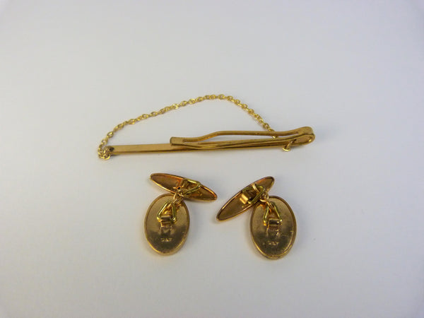 Gold Gilt Cufflinks & Tie Pin Set