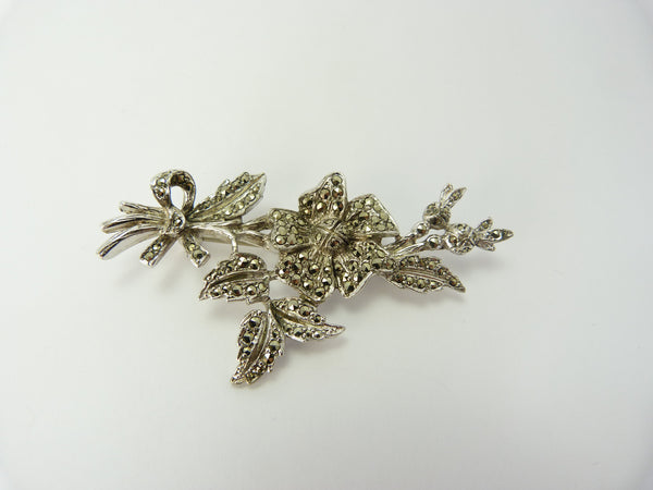 Marcasite Silver Flower Spray  Brooch