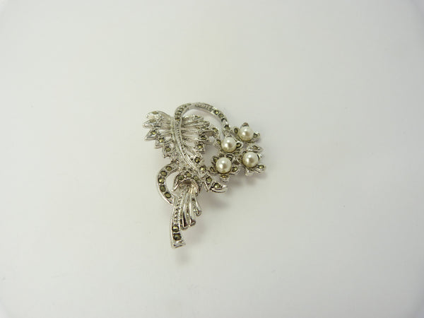 Marcasite and Pearl Flower Spray Brooch