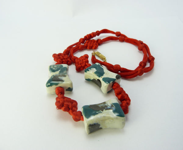 Vintage Chinese Red Knot Necklace