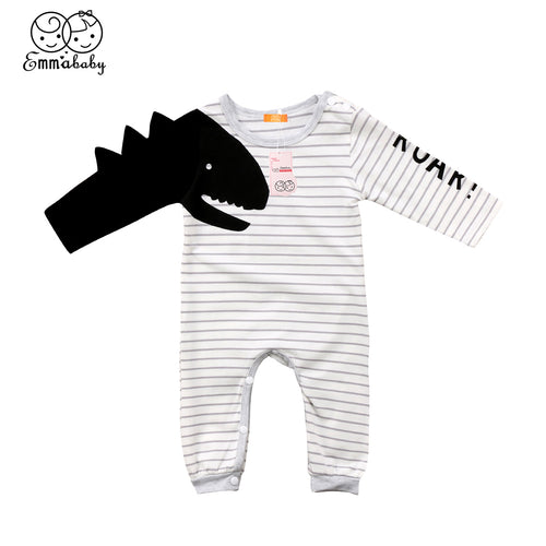Newborn Striped Full Sleeve Dinosaur Rompers Jumpsuit - Dino Fans
