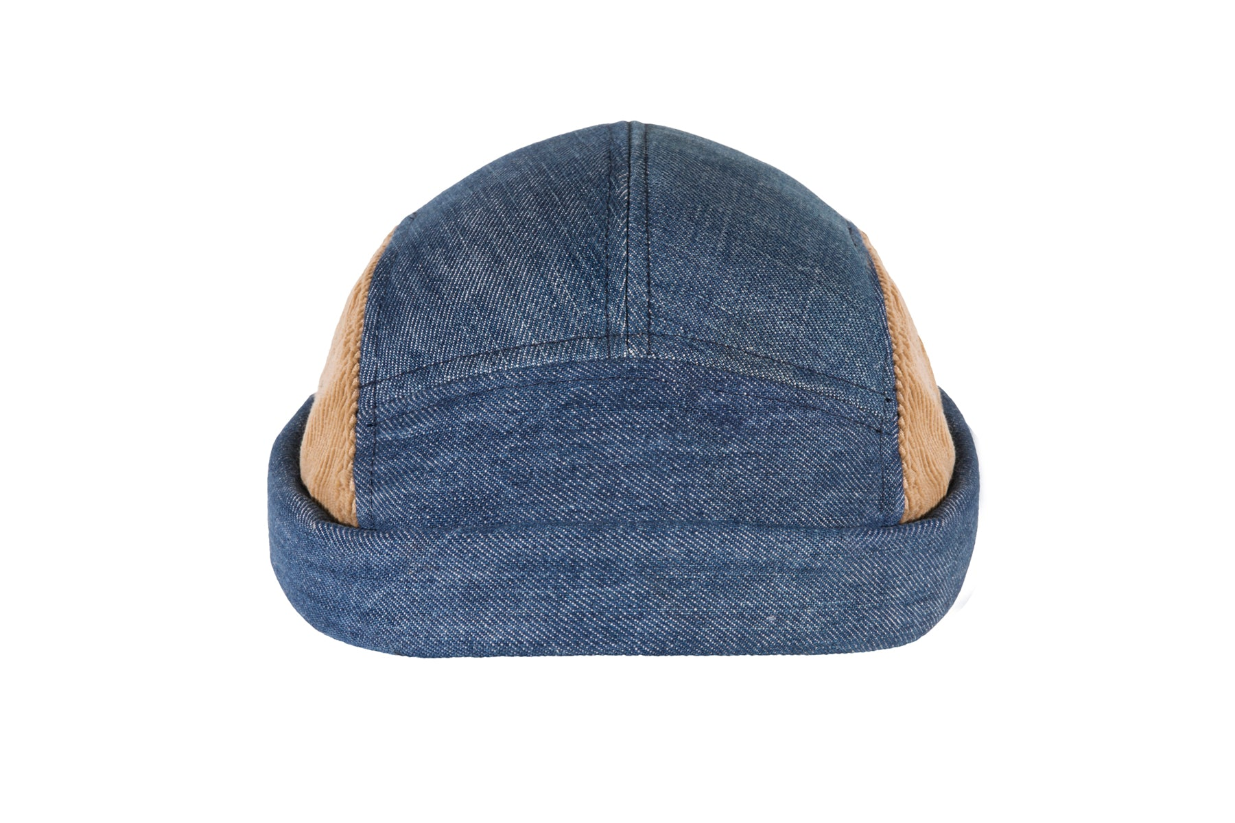 Miki breton bleu et camel, jean & velour, modèle unique, 100% coton, Miaraka, réglable, adaptable, unisexe, uniforme, 5 panel, authentique, vintage, éthique, docker miki, worker hat, textile, denim, résistant, miki jean et velour, fait à la main, made in France, must have, incontournable, tendance, couvre chef, accessoire iconique, chapellerie unique, fashion, streetwear, casual, miki addict, sneaker addict, collection, haut de gamme, environnement, marins, résistant, surecyclage