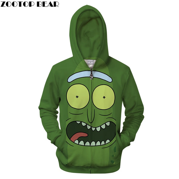 Rick and Morty Zip Hoodies Men Zipper Sweatshirts Cartoon 3D