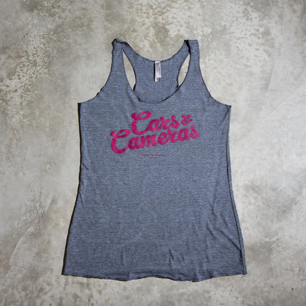 Cars & Cameras Script Womens Tank (Heather Grey/Marsala)