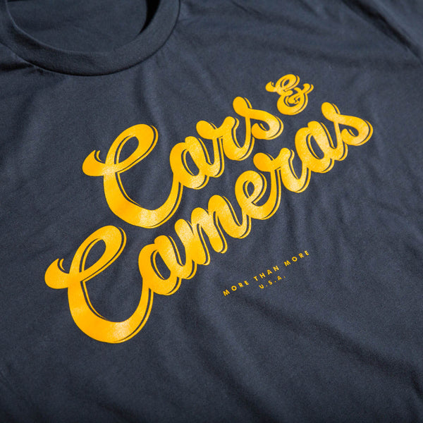 Cars & Cameras Script T-Shirt (Heavy Metal/Bold Yellow)