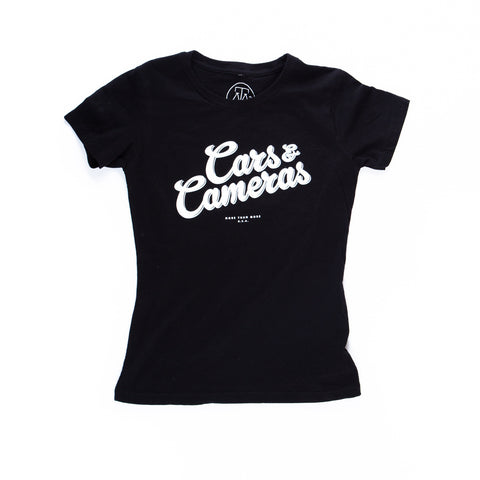 Cars & Cameras Script Ladies T-Shirt (Black/White)