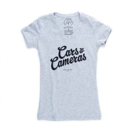 Cars & Cameras Script Ladies Mid-V T-Shirt (Heather Grey/Black)