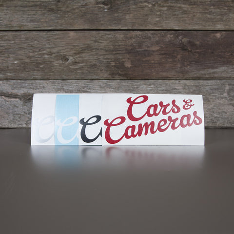 Cars & Cameras Script Vinyl Cut Sticker