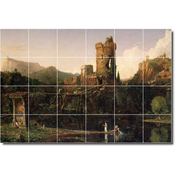 "Ceramic Tile Mural-Thomas Cole Country Painting 344. 72"" w x 48"" h using (24) 12 x 12 ceramic tiles"