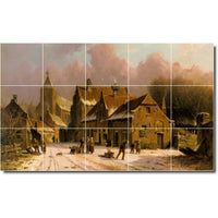"Ceramic Tile Mural-Adrianus Eversen City Backsplash Tile Mural 1. 60"" w x 36"" h using (15) 12 x 12 ceramic tiles"