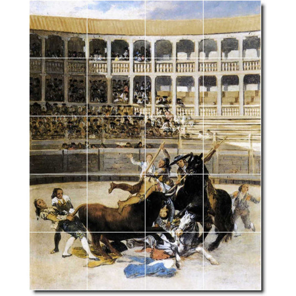 "Ceramic Tile Mural-Francisco Goya Sports Painting 1. 48"" w x 60"" h using (20) 12 x 12 ceramic tiles"