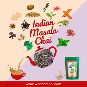 Indian Masala Chai Premium Assam Tea with Saffron and Tulsi