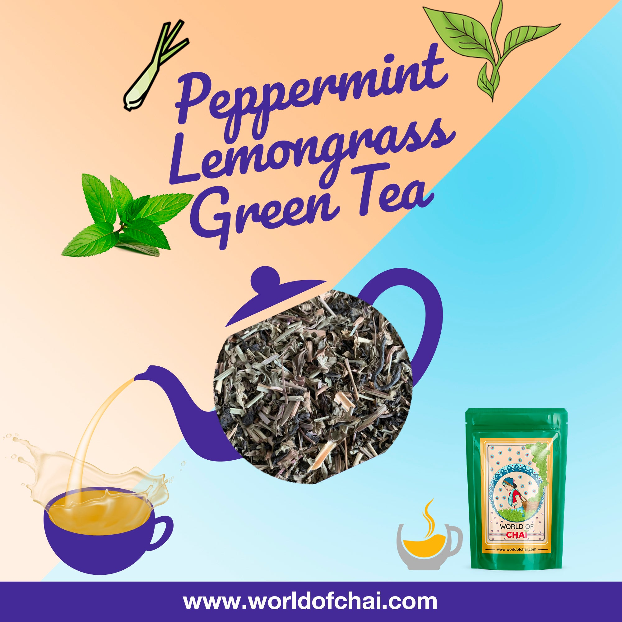 Peppermint Lemongrass Green Leaf Tea