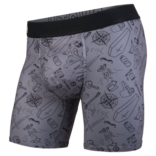 Men's entourage moral compass/charcoal base layer boxer briefs, 6.5 inch seam with ball supporting pouch,  front.