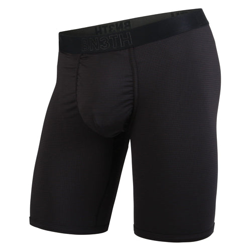 "Mens pro base layer boxer briefs with 8"" seam in black. include men's ball supporting pouch, front."