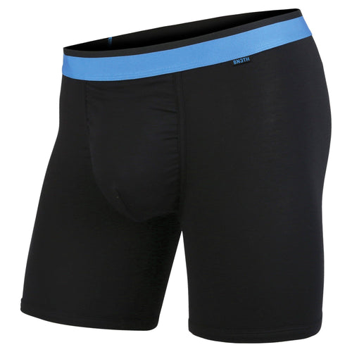 men's classic boxer briefs in black/blue by BN3TH with 3D supporting pouch, front.