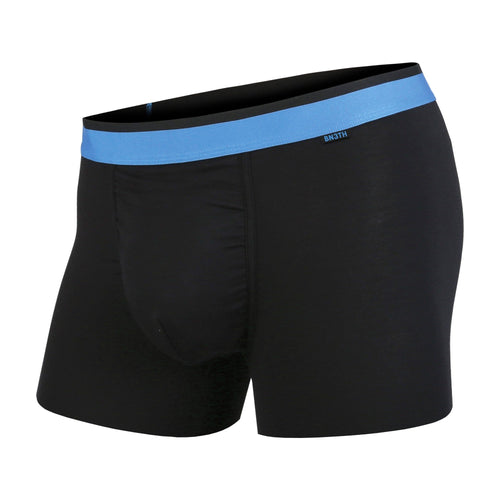 Men's classic trunks / hipsters in black/blue with built in 3D supporting pouch by BN3TH, front.