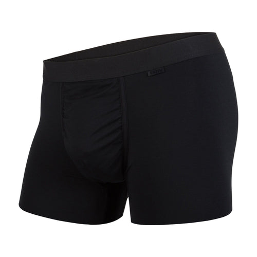 Men's classic trunks / hipsters in black with built in 3D supporting pouch by BN3TH, front.