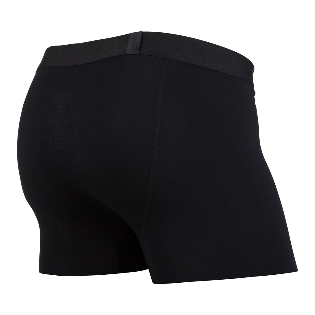 Men's classic trunks / hipsters black with built in 3D supporting pouch by BN3TH, back.