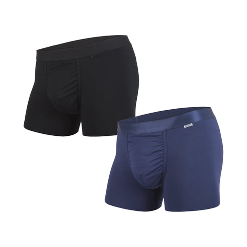 Men's classic trunks / hipsters 2-pack in black/navy with built in 3D supporting pouch by BN3TH, front.