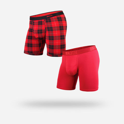 MENS CLASSIC BOXER BRIEF 2-PACK: CRIMSON/FIRESIDE RED