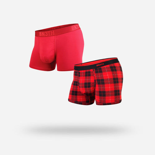 MENS CLASSIC TRUNKS / HIPSTERS 2-PACK: CRIMSON/FIRESIDE RED