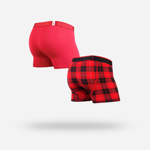 Men's classic trunks / hipsters 2-pack in crimson/fireside red with built in 3D supporting pouch by BN3TH, front.