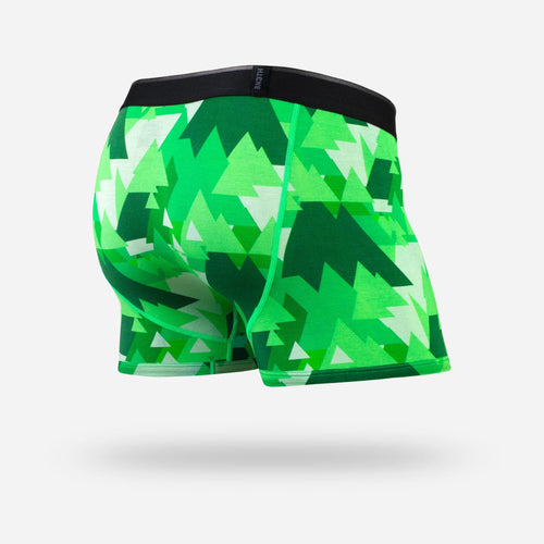Men's classic trunks / hipsters in geotrees green with built in 3D supporting pouch by BN3TH, front.