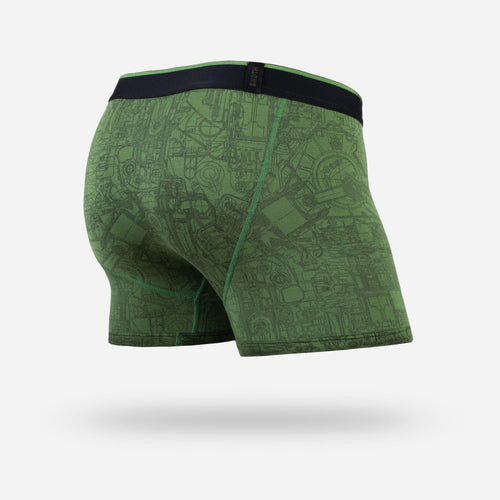 MENS CLASSIC TRUNKS / HIPSTERS: MECHANICS GREEN