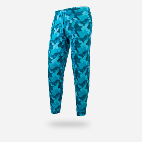 BN3TH unisex PJ / Lounge pants in geotrees Teal, front.