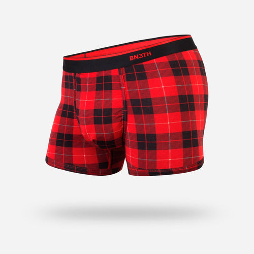 MENS CLASSIC TRUNKS / HIPSTERS: FIRESIDE PLAID RED