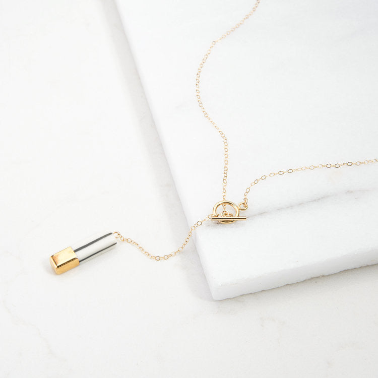 STRIPED MINIMAL LARIAT NECKLACE