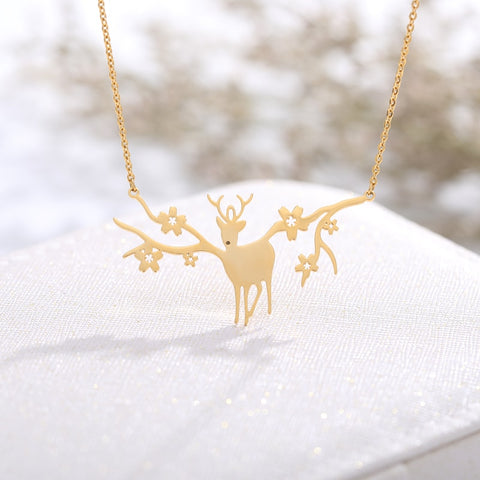 Dainty Antler Deer Elk With Flower Pendant