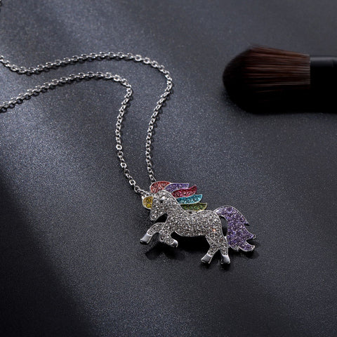 Swarovski Crystal Rainbow Unicorn Necklace in 14K Gold - 2 Options