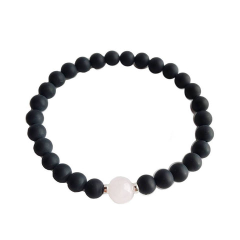 Black Onyx & Rose Quartz Bracelet