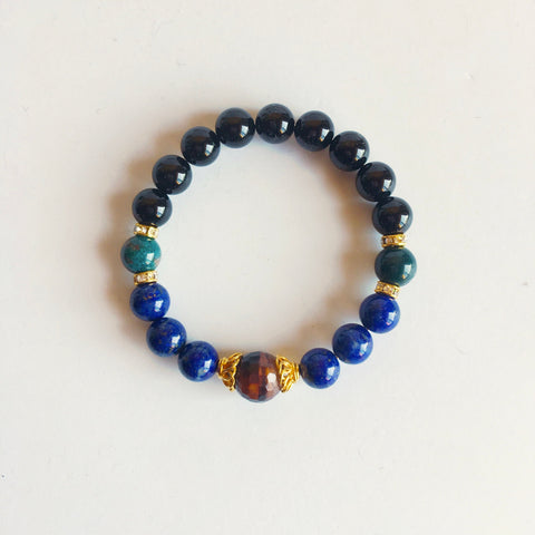 Black Onyx, Bloodstone, Lapis Lazuli and Red Tiger Eye Bracelet