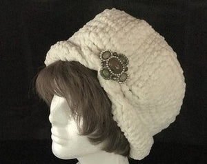 Handmade Crochet Cloche with Vintage Brooch