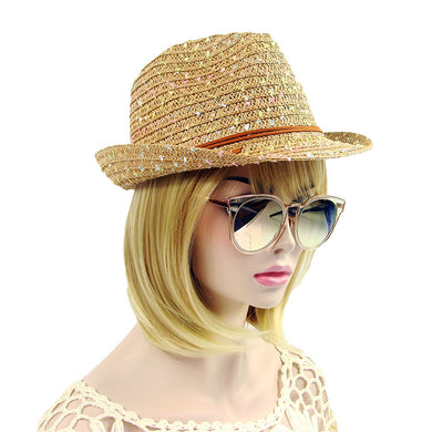 Handmade Soft Summer Straw Hat with Fleck Accent
