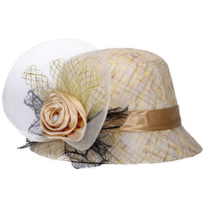 Satin Flower Embellished Linen Bucket Hat