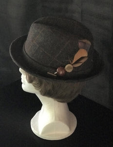 Handmade Feather Hat Clip with Vintage Leather Buttons