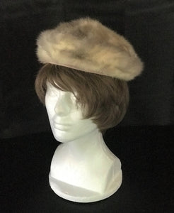 Elegant 1950's Vintage Mink Pillbox Hat