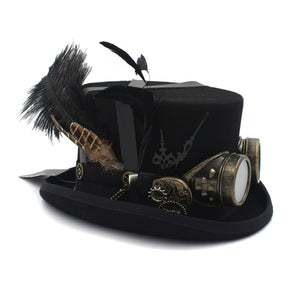 Steampunk Top Hat with Feather's & Goggles