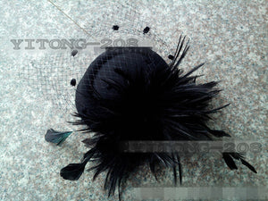 High Quality Ladies Feather & Mesh Party Hat