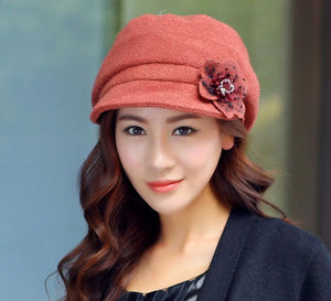 High Quality Wool Beret with Flower