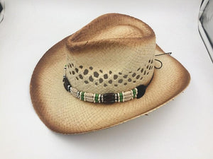 Raffia Cowboy Hat With Turquoise Punk Rope Curling Brim